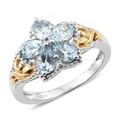 Espirito Santo Aquamarine 14K YG and Platinum Over Sterling Silver Openwork Floral Ring (Size 5.0) TGW 1.80 cts.