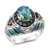 Peacock Quartz, Catalina Iolite 14K YG and Platinum Over Sterling Silver Enameled Ring (Size 6.0) TGW 4.36 cts.