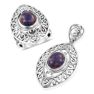 Customer Appreciation Day Artisan Crafted Mojave Purple Turquoise Sterling Silver Ring (Size 8) and Pendant without Chain TGW 9.58 cts.