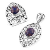 Customer Appreciation Day Artisan Crafted Mojave Purple Turquoise Openwork Sterling Silver Ring (Size 9) and Pendant without Chain TGW 9.58 cts.