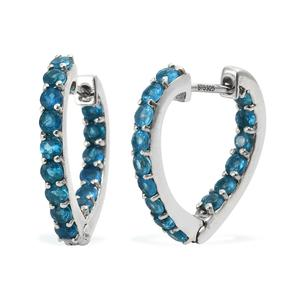 Malgache Neon Apatite Platinum Over Sterling Silver Inside Out Heart Latch Back Earrings TGW 2.26 cts.