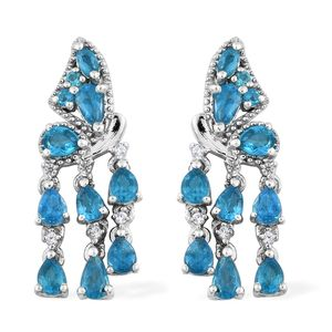 Malgache Neon Apatite, Cambodian Zircon Platinum Over Sterling Silver Butterfly Drop Dangle Earrings TGW 2.94 cts.