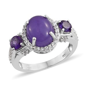 Burmese Purple Jade, Multi Gemstone Platinum Over Sterling Silver Ring (Size 7.0) TGW 8.08 cts.