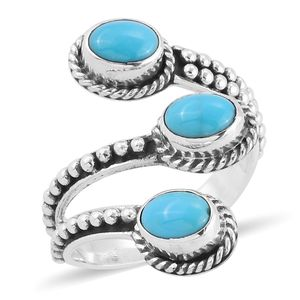 Bali Legacy Collection Arizona Sleeping Beauty Turquoise Sterling Silver Bypass Ring (Size 7.0) TGW 1.97 cts.