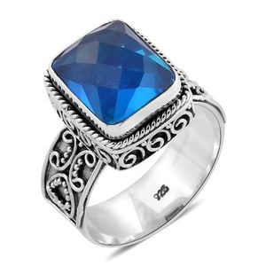 Bali Legacy Collection Caribbean Quartz Sterling Silver Ring (Size 6.0) TGW 6.50 cts.