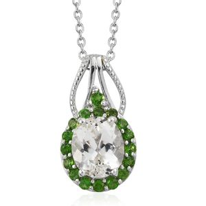 XIA Kunzite, Russian Diopside Platinum Over Sterling Silver Pendant With Chain (20 in) TGW 3.85 cts.