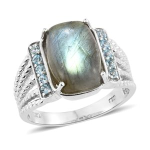 Malagasy Labradorite, Electric Blue Topaz Platinum Over Sterling Silver Ring (Size 7.0) TGW 8.73 cts.