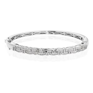 Diamond Sterling Silver Bangle (7.25 in) TDiaWt 1.00 cts, TGW 1.00 cts.