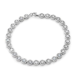 White Zircon Platinum Over Sterling Silver Bracelet (8.00 In) TGW 4.35 cts.