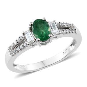 Premium Brazilian Emerald, Cambodian Zircon Platinum Over Sterling Silver Ring (Size 6.0) TGW 1.19 cts.