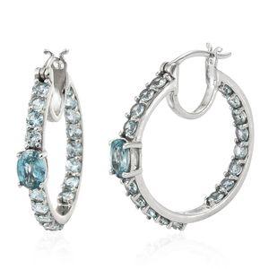 Cambodian Blue Zircon Platinum Over Sterling Silver Hoop Earrings TGW 7.88 cts.