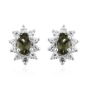 Bohemian Moldavite, Cambodian Zircon Platinum Over Sterling Silver Earrings TGW 0.82 cts.
