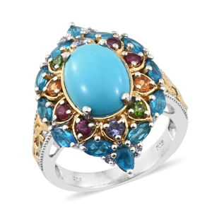 Arizona Sleeping Beauty Turquoise, Multi Gemstone 14K YG and Platinum Over Sterling Silver Ring (Size 10.0) TGW 7.90 cts.