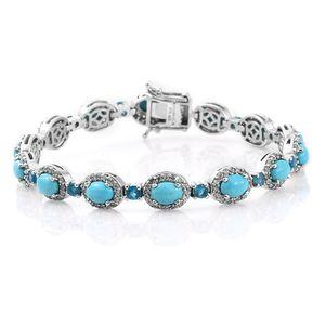 Arizona Sleeping Beauty Turquoise, Malgache Neon Apatite, Cambodian Zircon Platinum Over Sterling Silver Bracelet (7.50 In) Total Gem Stone Weight 13.84 Carat