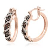 Red Diamond (IR), Diamond Vermeil RG Over Sterling Silver Inside Out Hoop Earrings TDiaWt 0.49 cts, TGW 0.49 cts.
