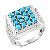 Arizona Sleeping Beauty Turquoise Platinum Over Sterling Silver Men's Signet Ring (Size 12.0) TGW 4.30 cts.