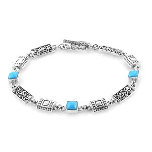 Bali Legacy Collection Arizona Sleeping Beauty Turquoise Sterling Silver Bracelet (7.50 In) TGW 2.93 cts.