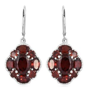 Mozambique Garnet Platinum Over Sterling Silver Lever Back Earrings TGW 10.65 cts.