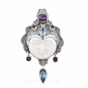 Bali Goddess Collection Carved Bone, Multi Gemstone Sterling Silver Pendant without Chain TGW 35.29 cts.