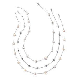 Set of 3 Freshwater Multi Color Pearl Silvertone Station Necklace (20 in)