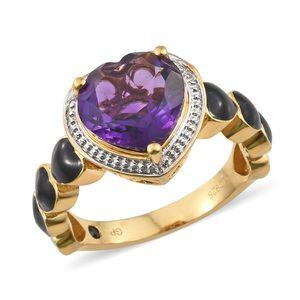 GP Amethyst, Kanchanaburi Blue Sapphire Vermeil YG Over Sterling Silver Ring (Size 7.0) TGW 3.93 cts.