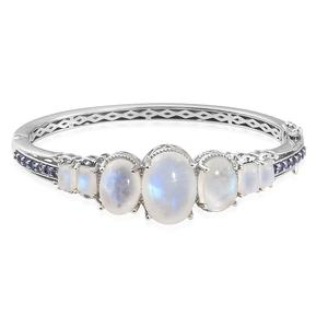Rainbow Moonstone, Tanzanite Platinum Over Sterling Silver Bangle (7.25 in) TGW 35.36 cts.