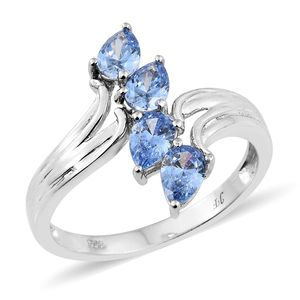 J Francis - Platinum Over Sterling Silver Bypass Ring Made with Blue SWAROVSKI ZIRCONIA (Size 7.0) TGW 2.50 cts.