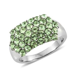Stainless Steel Ring (Size 7.0) Made with SWAROVSKI Peridot Crystal TGW 2.10 cts.