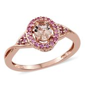 Customer Appreciation Day Marropino Morganite, Madagascar Pink Sapphire Vermeil RG Over Sterling Silver Ring (Size 11.0) TGW 1.06 cts.