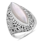 Bali Legacy Collection Mother of Pearl Sterling Silver Ring (Size 8.0)