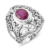 Bali Legacy Collection Niassa Ruby Sterling Silver Floral Openwork Ring (Size 8.0) TGW 3.45 cts.