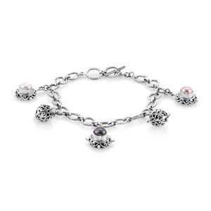 Bali Legacy Collection Freshwater Multi Color Pearl Sterling Silver Charms Bracelet (7.50 In)