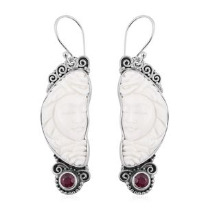 Bali Goddess Collection Carved Bone, Niassa Ruby Sterling Silver Earrings TGW 9.55 cts.