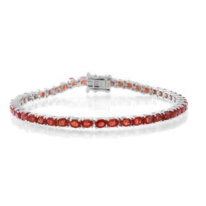 Songea Red Sapphire Sterling Silver Tennis Bracelet (7.50 In) Total Gem Stone Weight 8.75 Carat