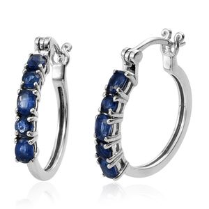 Himalayan Kyanite Platinum Over Sterling Silver Inside Out Hoop Earrings TGW 2.30 cts.