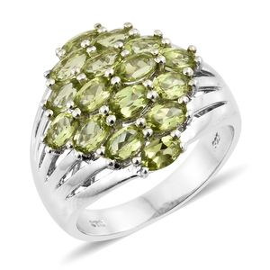 Hebei Peridot Platinum Over Sterling Silver Cluster Ring (Size 5.0) TGW 4.18 cts.