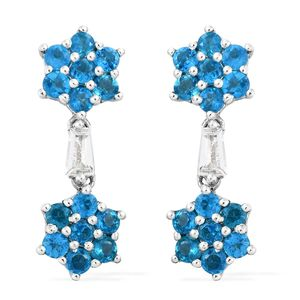 Dionne's Host Pick Malgache Neon Apatite, White Topaz Platinum Over Sterling Silver Dangling Flower Earrings TGW 3.25 cts.