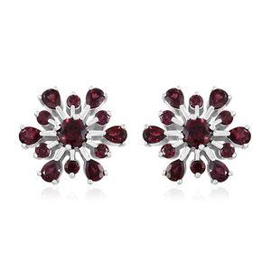 Orissa Rhodolite Garnet Platinum Over Sterling Silver Flower Stud Earrings TGW 5.01 cts.