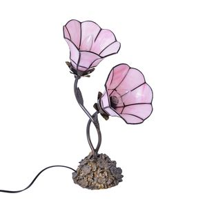 Pink Floral Engraved Tiffany Style Dual Table Lamp (14 in)
