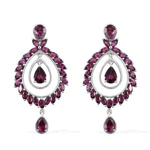 Orissa Rhodolite Garnet Platinum Over Sterling Silver Dangle Earrings TGW 14.73 cts.