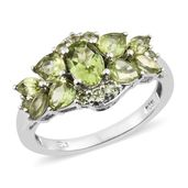 Hebei Peridot Platinum Over Sterling Silver Ring (Size 5.0) TGW 3.05 cts.