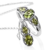 Hebei Peridot Platinum Over Sterling Silver Ring (Size 7) and Pendant With Chain (20 in) TGW 2.20 cts.