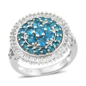 Dionne's Host Pick Malgache Neon Apatite, White Topaz Platinum Over Sterling Silver Cluster Flower Ring (Size 7.0) TGW 3.68 cts.