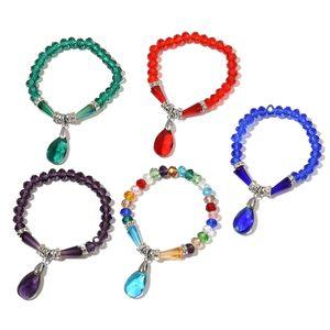 Set of 5 Simulated Multi Gems, Austrian Crystal Charm Bracelets (Stretchable)