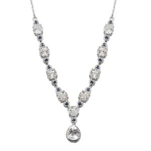 XIA Kunzite, Catalina Iolite Platinum Over Sterling Silver Drop Necklace (18 in) TGW 11.65 cts.