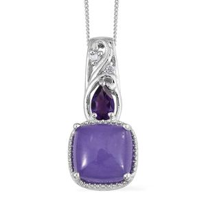 Burmese Purple Jade, Multi Gemstone Platinum Over Sterling Silver Pendant With Chain (20 in) TGW 5.95 cts.