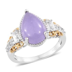Burmese Purple Jade, White Topaz 14K YG and Platinum Over Sterling Silver Ring (Size 10.0) TGW 7.58 cts.