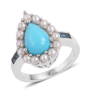 Arizona Sleeping Beauty Turquoise, Freshwater Pearl, London Blue Topaz Sterling Silver Pear Halo Ring (Size 5.0) TGW 1.97 cts.