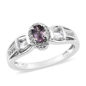 Burmese Lavender Spinel, White Topaz Platinum Over Sterling Silver Ring (Size 5.0) TGW 1.29 cts.