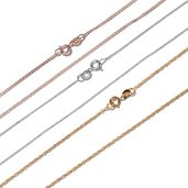 Set of 3 14K YRG Over and Sterling Silver Cable, Singapore and Curb Chains (20 in) (6.6 g)